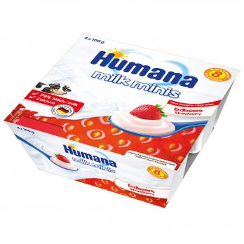 Кисломолочний продукт Humana з полуницею, 4 x 100 г