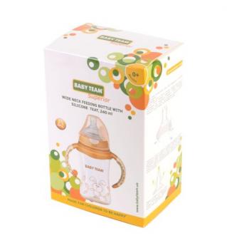 Пляшечка для годування з широким горлом Baby Team Superior, з індикатором температури, 240 мл