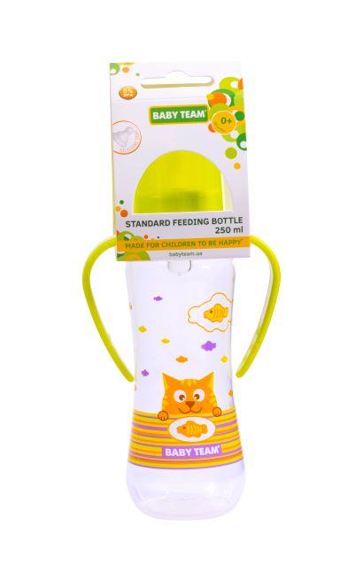 """Бутылочка для кормления с силиконовой соской и ручками Baby Team  """"Котики"""", 250 мл (зеленая)"""