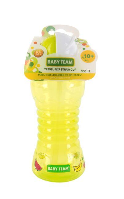 Поильник для путешествий с трубочкой Baby team, 300 мл, 10 мес + (зеленый)