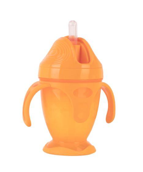 Поїльник з силіконовою трубочкою та ручками Baby team, 220 мл, 9 міс + (помаранчевий)