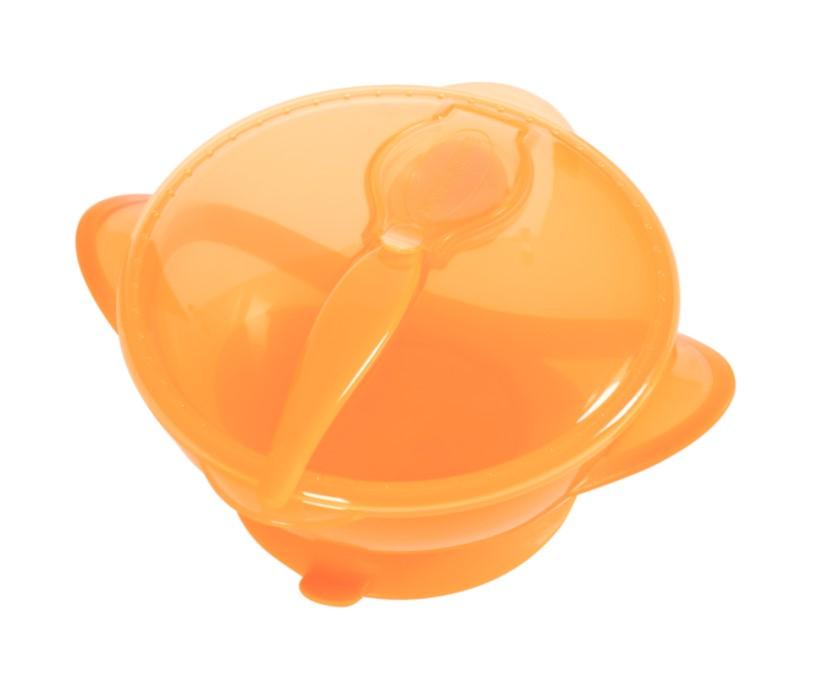 Тарілка на присосці з кришкою та ложкою Baby team, 290 мл, 6 міс+ (помаранчева)
