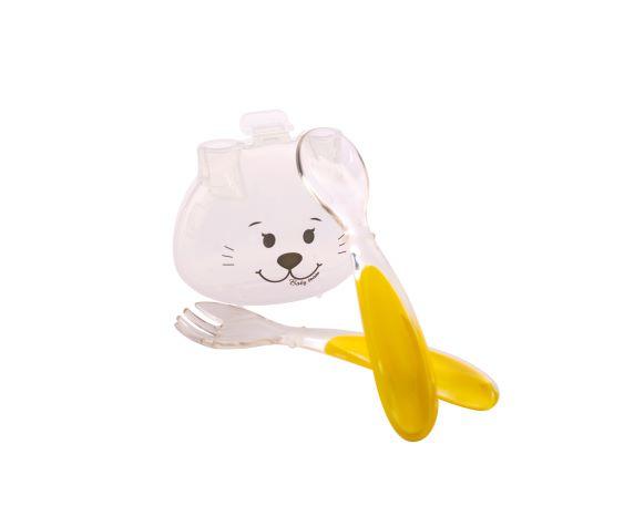 Набор для кормления (вилочка и ложечка) в футляре Baby team, 6 мес +