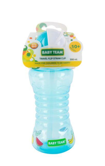 Поїльник для подорожей з трубочкою Baby team, 300 мл, 10 міс + (блакитний)