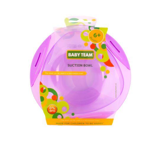 Тарелка на присоске Baby team, 280 мл, 6 мес + (фиолетовая)