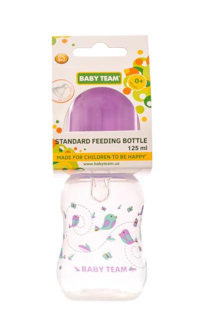 Бутылочка для кормления с силиконовой соской Baby Team, 125 мл (фиолетовая)