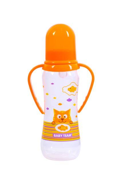 """Бутылочка для кормления с силиконовой соской и ручками Baby Team """"Котики"""",, 250 мл (оранжевая)"""