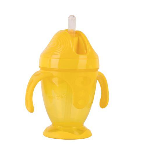 Поїльник з силіконовою трубочкою та ручками Baby team, 220 мл, 9 міс + (жовтий)