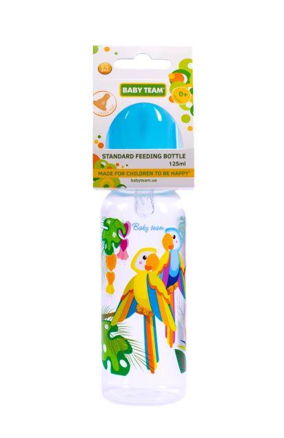 Пляшечка для годування з силіконовою соскою Baby Team Папуги, 250 мл