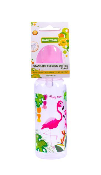Пляшечка для годування з силіконовою соскою Baby Team Фламінго, 250 мл